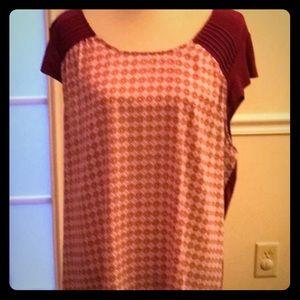 Lauren Conrad Mixed Media Capped Sleeve Shirt